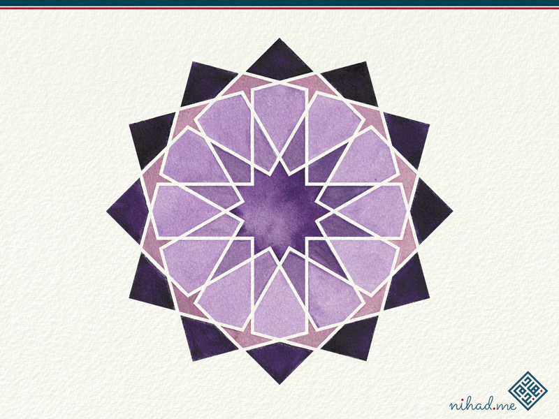 watercolor geometric islamic Art